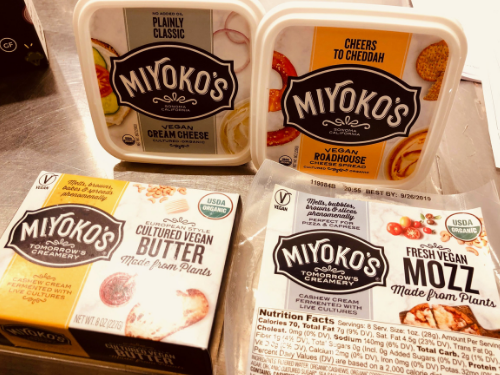 vegan Miyoko's cheeses and butter at Eastman Party Store