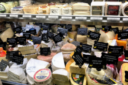 large variety of artisan gourmet cheese