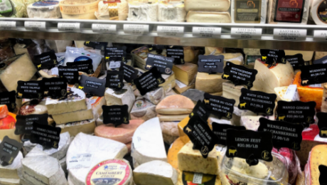 large variety of artisan gourmet cheese